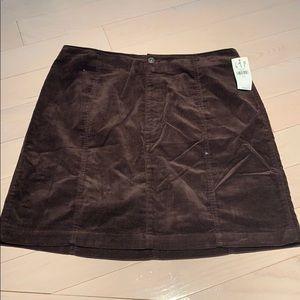 Gap Brown Crushed Corduroy Skirt Size 14